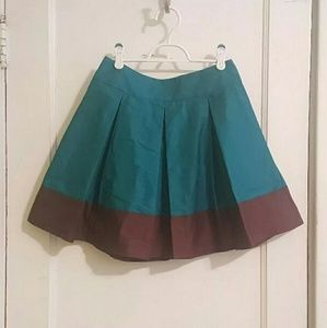 H&M Teal/Brown Box Plead Mini Skirt
